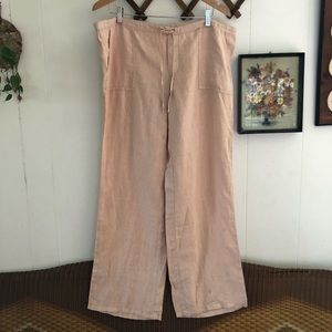 Linen Dusty Pink Wide Leg Lounge Pants